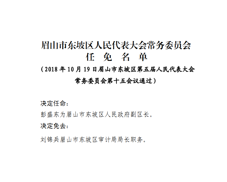 关于彭盛东等同志任免职的通知
